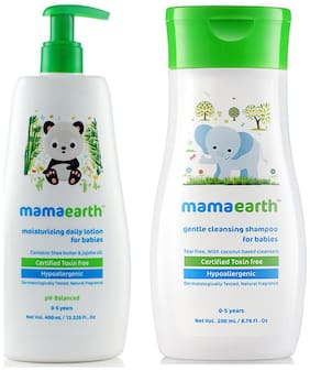 Mamaearth Daily Moisturizing Baby Lotion, 400 ml And Gentle Cleansing Shampoo For Babies (200 ml, 0-5 Yrs)