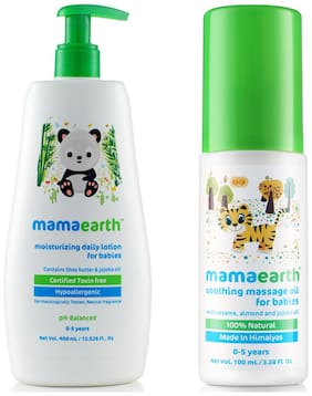 Mamaearth Daily Moisturizing Baby Lotion, 400ml and Soothing Massage Oil (100 ml) (Pack of 2)
