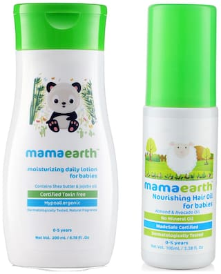 Mamaearth Daily Moisturizing Baby Lotion, 200ml and Nourishing Hair Oil 100ml (0-10 Years) (Pack of 2)