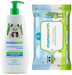 Mamaearth Daily Moisturizing Baby Lotion, 400ml andMamearth Baby Wipes Travel Pack (15 Wipes) (Pack of 2)