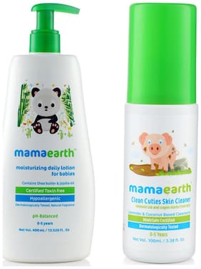 Mamaearth Daily Moisturizing Baby Lotion, 400 ml And Baby Skin Cleanser 100 ml (For Cleaning Pen, Marker, Make Up And Crayon Marks)