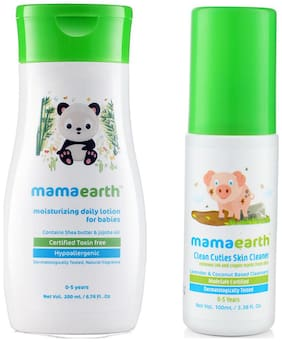 Mamaearth Daily Moisturizing Baby Lotion, 200Ml And Baby Skin Cleanser 100 Ml (For Cleaning Pen, Marker, Make Up And Crayon Marks)