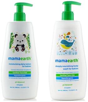 Mamaearth Daily Moisturizing Baby Lotion, 400 ml and Nourishing Bodywash (400 ml) (Pack of 2)