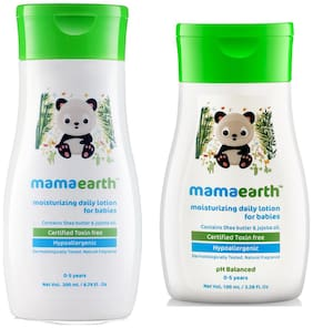 Mamaearth Daily Moisturizing Baby Lotion, 200ml and Lotion (100 ml) (Pack of 2)