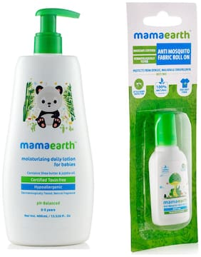 Mamaearth Daily Moisturizing Baby Lotion, 400ml and Anti Mosquito Fabric Roll On, 8ml (Pack of 2)