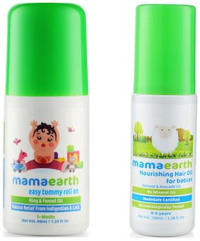 Mamaearth Easy baby Tummy Roll On for Digestion & Colic Relief with Hing & Fennel 40Ml and Nourishing Hair Oil 100ml (0-10 Years) (Pack of 2)