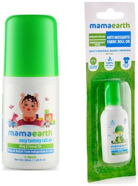 Mamaearth Easy baby Tummy Roll On for Digestion & Colic Relief with Hing & Fennel 40 ml and Anti Mosquito Fabric Roll On, 8 ml (Pack of 2)