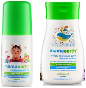 Mamaearth Easy baby Tummy Roll On for Digestion & Colic Relief with Hing & Fennel 40 ml and nourishing wash (100 ml) (Pack of 2)