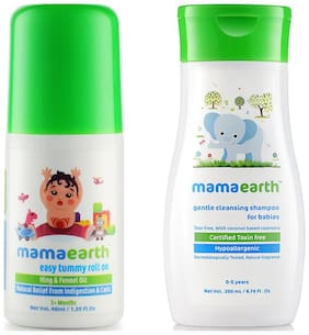 Mamaearth Easy Baby Tummy Roll On For Digestion & Colic Relief With Hing & Fennel 40Ml, And Gentle Cleansing Shampoo For Babies (200 Ml, 0-5 Yrs)