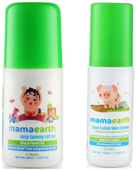 Mamaearth Easy Baby Tummy Roll On For Digestion & Colic Relief With Hing & Fennel 40 ml, And Baby Skin Cleanser 100 ml (For Cleaning Pen, Marker, Make Up And Crayon Marks)