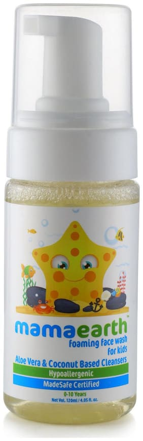 Mamaearth Foaming Baby Face Wash for Kids with Aloe Vera and Coconut Based Cleansers, 120 ml