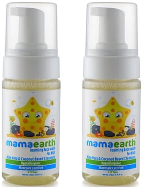 Mamaearth Foaming Baby Face Wash for Kids with Aloe Vera and Coconut Based Cleansers;120 ml( Pack of 2)
