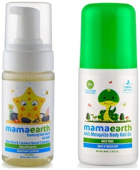 Mamaearth Foaming Baby Face Wash For Kids With Aloe Vera And Coconut Based Cleansers, 120 Ml And Natural Anti Mosquito Body Roll On, 40Ml