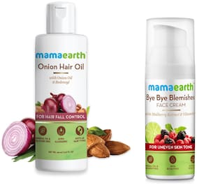 Mamaearth for Onion Hair Oil  Regrowth & Hair Fall Control with Redensyl 150ml and Bye Bye Blemishes for pigmentation  sun damage & spots correction 50 ml (Pack of 2)