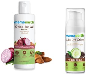 Mamaearth for Onion Hair Oil  Regrowth & Hair Fall Control with Redensyl 150ml and Under Eye Cream  50ml (Pack of 2)