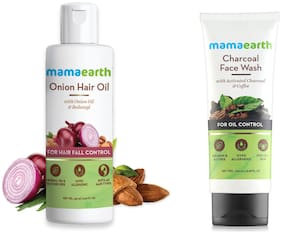 Mamaearth for Onion Hair Oil  Regrowth & Hair Fall Control with Redensyl 150ml and Charcoal Natural Face Wash for oil control and pollution defence 100 ml (Pack of 2)