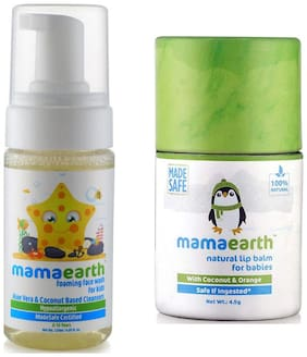 Mamaearth Foaming Baby Face Wash For Kids With Aloe Vera And Coconut Based Cleansers, 120 Ml And Natural Baby Lip Balm 4.5G For Babies With Coconut Oil, Cocoa Butter & Orange