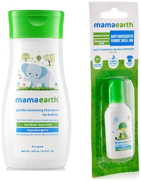 Mamaearth Gentle Cleansing Shampoo For Babies (200 ml, 0-5 Yrs) And Anti Mosquito Fabric Roll On, 8 ml