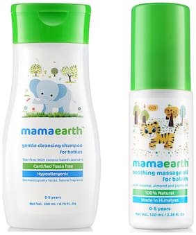 Mamaearth Gentle Cleansing Shampoo For Babies (200 ml, 0-5 Yrs) And Soothing Massage Oil For Babies (100 ml, 0-5 Yrs)