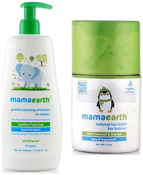 Mamaearth Gentle Cleansing Shampoo For Babies (400 Ml, 0-5 Yrs) And Natural Baby Lip Balm 4.5G For Babies With Coconut Oil, Cocoa Butter & Orange