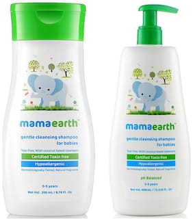 Mamaearth Gentle Cleansing Shampoo For Babies (200 ml, 0-5 Yrs) And Gentle Cleansing Shampoo For Babies (400 ml, 0-5 Yrs)
