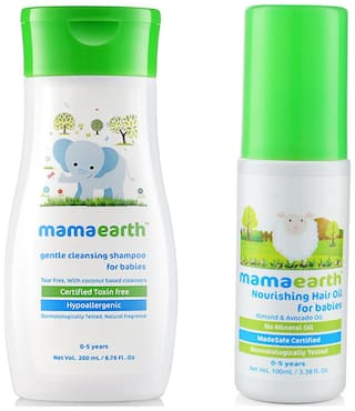 Mamaearth Gentle Cleansing Shampoo For Babies (200 Ml, 0-5 Yrs) And Nourishing Hair Oil For Babies 100Ml (0-10 Years)