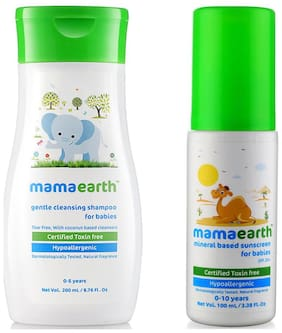 Mamaearth Gentle Cleansing Shampoo For Babies (200 ml, 0-5 Yrs) And Mineral Based Sunscreen (100 ml)
