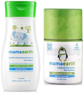 Mamaearth Gentle Cleansing Shampoo For Babies (200 Ml, 0-5 Yrs) And Natural Baby Lip Balm 4.5G For Babies With Coconut Oil, Cocoa Butter & Orange