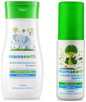Mamaearth Gentle Cleansing Shampoo For Babies (200 Ml, 0-5 Yrs) And Natural Insect Repellent For Babies (100 Ml)