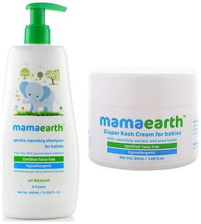 Mamaearth Gentle Cleansing Shampoo For Babies (400 Ml, 0-5 Yrs) And Natural Diaper Rash Cream For Babies 0-5 Years, 50Ml