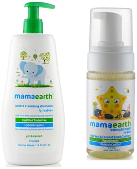 Mamaearth Gentle Cleansing Shampoo for babies (400 ml;0-5 Yrs) & Foaming Baby Face Wash for Kids with Aloe Vera and Coconut Based Cleansers;120 ml Pack of 2