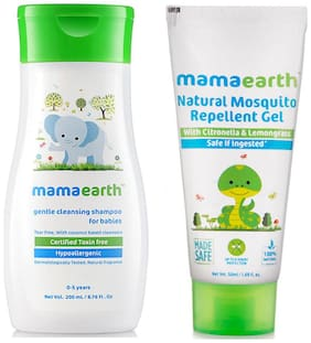 Mamaearth Gentle Cleansing Shampoo For Babies (200 ml, 0-5 Yrs) And Natural Mosquito Repellent Gel, 50 ml