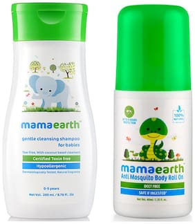 Mamaearth Gentle Cleansing Shampoo For Babies (200 Ml, 0-5 Yrs) And Natural Anti Mosquito Body Roll On, 40Ml