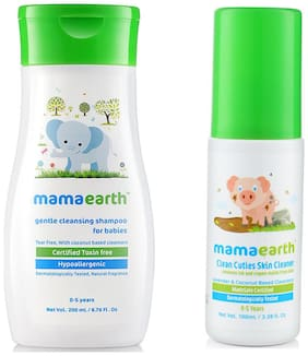 Mamaearth Gentle Cleansing Shampoo For Babies (200 Ml, 0-5 Yrs) And Baby Skin Cleanser 100 Ml (For Cleaning Pen, Marker, Make Up And Crayon Marks)