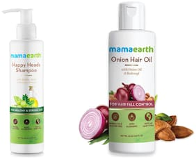 Mamaearth Happy Heads Hair Shampoo 200ml with Biotin Onion Oil for Hair Regrowth & Hair Fall Control with Redensyl 150ml(Pack of 2)