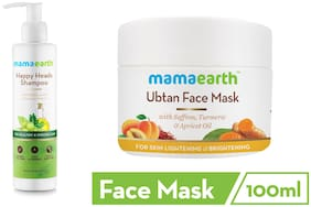 Mamaearth Happy Heads Hair Shampoo 200ml with Biotin Ubtan Face Pack Mask 100 ml(Pack of 2)