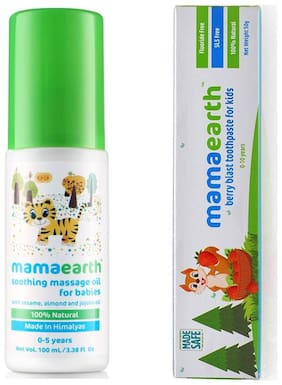 MamaEarth Massage Oil for Babies 100ml and Berry toothpaste 50g (Pack of 2)