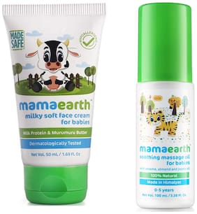 Mamaearth Milky Soft Natural Baby Face Cream 50mL and Soothing Massage Oil (100 ml) (Pack of 2)