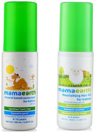 Mamaearth Mineral Based Sunscreen (100 ml) and Nourishing Hair Oil 100ml (0-10 Years) (Pack of 2)