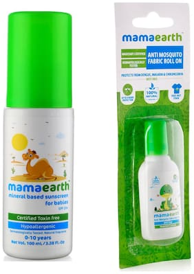 Mamaearth Mineral Based Sunscreen (100 ml) and Anti Mosquito Fabric Roll On, 8ml (Pack of 2)