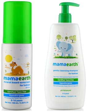 Mamaearth Mineral Based Sunscreen (100 ml) & Gentle Cleansing Shampoo for babies (400 ml;0-5 Yrs) Pack of 2
