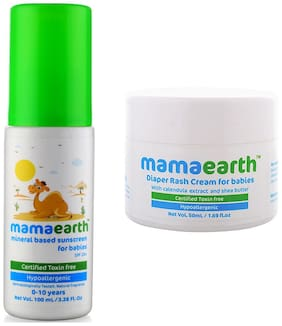 Mamaearth Mineral Based Sunscreen (100 ml) and Natural Diaper Rash Cream 0-5 Years, 50ml (Pack of 2)