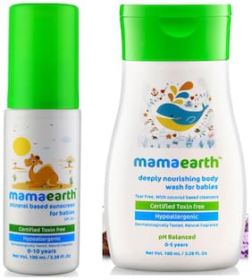 Mamaearth Mineral Based Sunscreen (100 Ml) & Nourishing Wash For Babies (100 Ml, 0-5 Yrs) (Pack of 2)