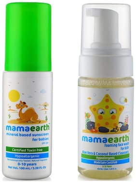 Mamaearth Mineral Based Sunscreen (100 Ml) And Foaming Baby Face Wash For Kids With Aloe Vera And Coconut Based Cleansers, 120 Ml