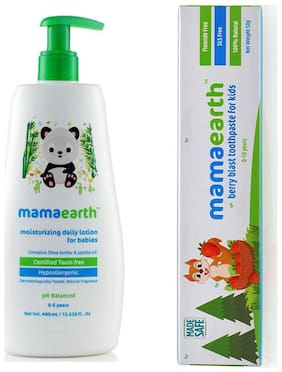 MamaEarth Moisturizing lotion 400ml and Berry toothpaste 50g (Pack of 2)