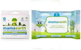 Mamaearth Natural Repellent Mosquito Patches for Babies 24pcs(7g)+ Mamearth Baby Wipes Travel Pack (15 Wipes-123g)(pack of 2)