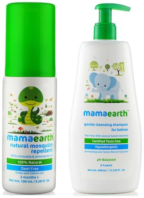 Mamaearth Natural Insect Repellent for babies (100 ml) & Gentle Cleansing Shampoo for babies (400 ml;0-5 Yrs) Pack of 2
