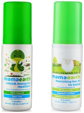Mamaearth Natural Insect Repellent For Babies (100 Ml) & Nourishing Hair Oil For Babies 100Ml (0-10 Years) (Pack of 2)