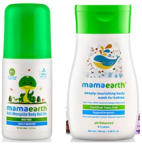 Mamaearth Natural Anti Mosquito Body Roll On, 40Ml & Nourishing Wash For Babies (100 Ml, 0-5 Yrs) (Pack of 2)