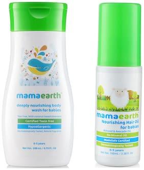 Mamaearth nourishing wash (200 ml) and Nourishing Hair Oil 100ml (0-10 Years) (Pack of 2)